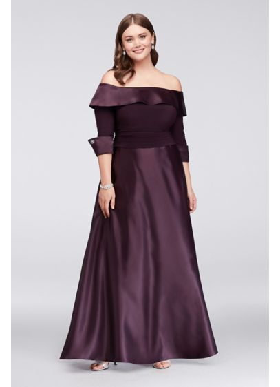 b5e9c97f030 ... 3/4-Sleeve Satin Plus Size Gown. JHDW3159. Long Ballgown Off the Shoulder  Cocktail and Party Dress - Jessica Howard