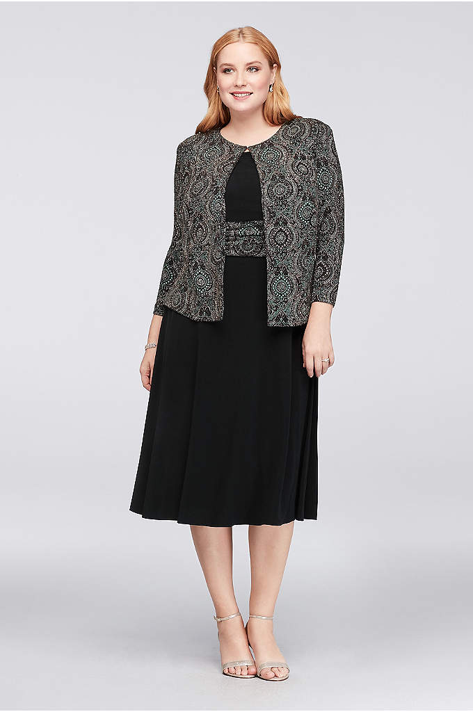 Medallion Glitter Print Plus Size Jacket Dress - A glitter-printed medallion-motif jacket matches the ruched waistband