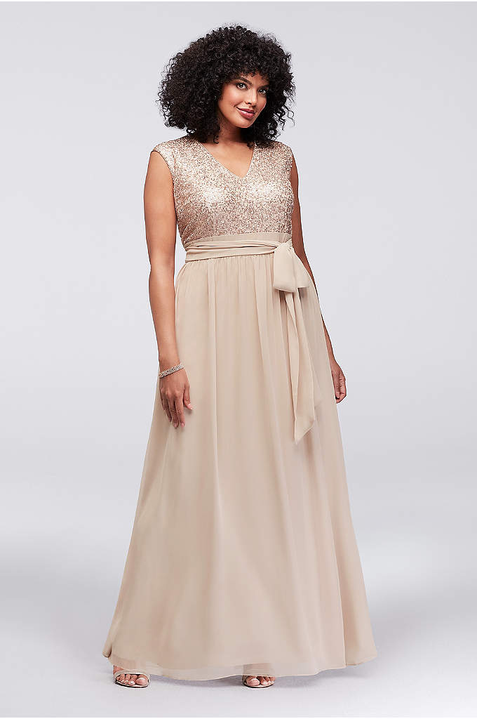 Cap Sleeve Sequin and Chiffon Plus Size Gown - Glittering sequins and soft chiffon are a perfect