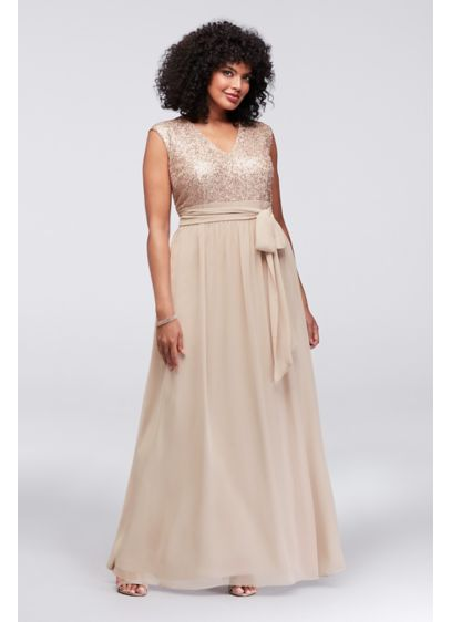 Cap Sleeve Sequin and Chiffon Plus Size Gown | David\'s Bridal
