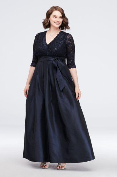 Lace Surplice Bodice Taffeta Plus Size Ball Gown Davids Bridal