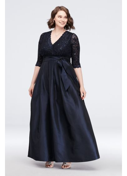 Lace Surplice Bodice Taffeta Plus Size Ball Gown - A regal look for the mother of the