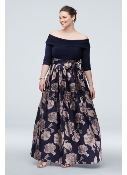 Off the Shoulder Plus Size Gown with Floral - An fashion-forward option for any event, you'll look
