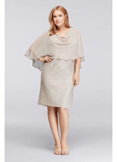 Shimmer Lace Plus Size Dress With Capelet Davids Bridal