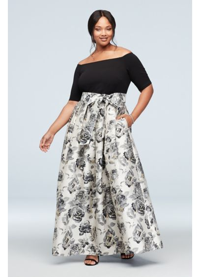 Off-the-Shoulder Gown with Mikado Floral Skirt - Turn heads in this wow-worthy special occasion gown,