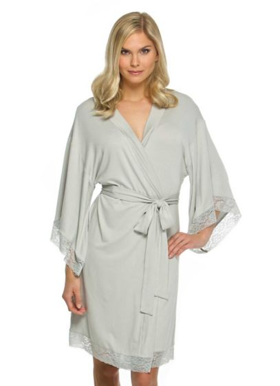 White (Blank Jersey Robe with Lace)