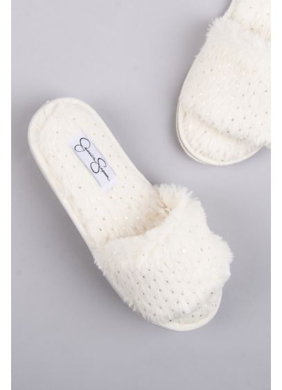 Jessica Simpson Dotted Fuzzy Slide Slippers - Give your toes a break (and show off