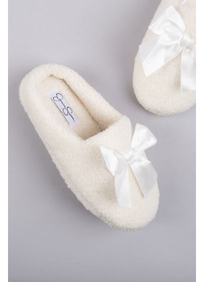 Jessica Simpson Ivory (Jessica Simpson Shearling Slippers with Satin Bow)