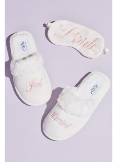 Fuzzy Just Married Slippers and Sleep Mask Set - Detailed with a faux-fur cuff and embroidered with