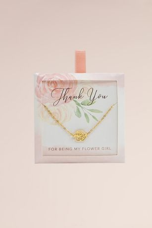 Thank You for Being My Flower Girl Rose Necklace