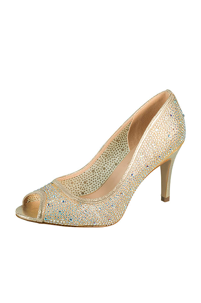 Crystal-Embellished Mesh Peep Toe Pumps - This peep-toe pump takes a classic silhouette and