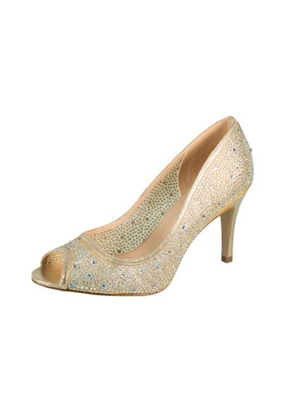 Beige (Crystal-Embellished Mesh Peep Toe Pumps)