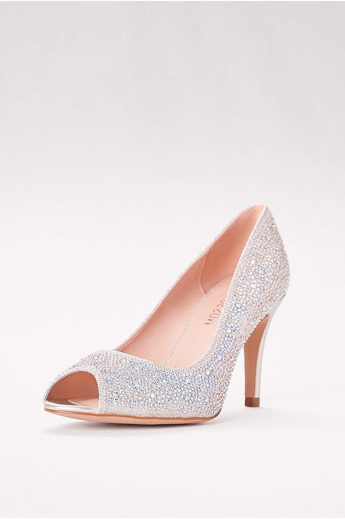 d495498144e Allover Crystal Embellished Peep Toe Pumps