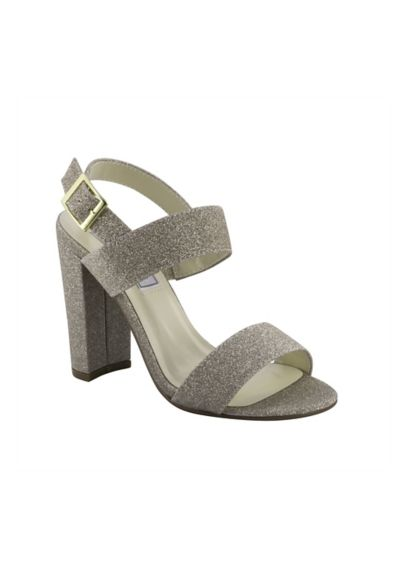 Double-Strap Glitter Block Heel Sandals - Wedding Accessories