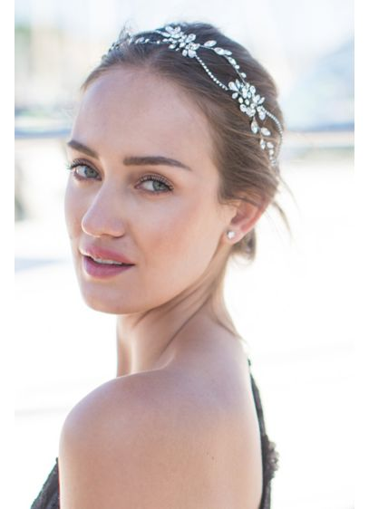 Double-Strand Crystal Halo with Ribbon Tie - This double strand of hand-wired crystals can be