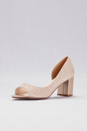 "Touch Ups Grey;Ivory Peep Toe Shoes (Shimmer D""Orsay Block Heel Peep-Toes)"
