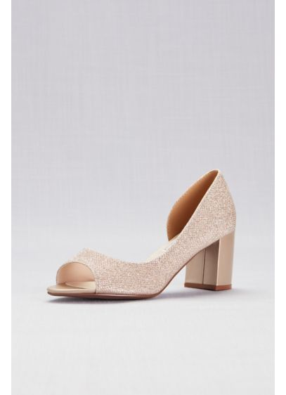 Touch Ups Ivory (Shimmer D'Orsay Block Heel Peep-Toes)