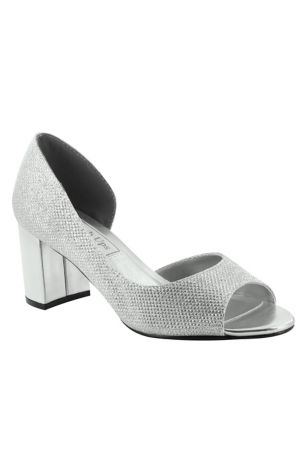 """Touch Ups Grey;Ivory Peep Toe Shoes (Shimmer D""""Orsay Block Heel Peep-Toes)"""
