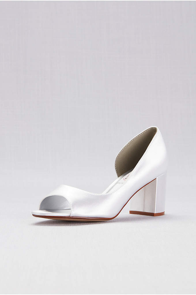 Dyeable Satin D'Orsay Block Heel Peep-Toes - A cutaway inset provides pretty detail on this