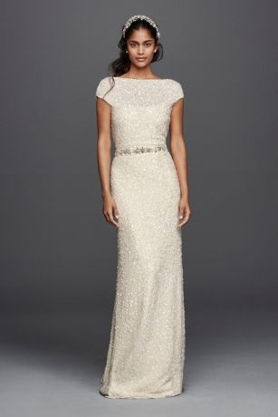Hand Beaded Sheath Cap Sleeve Wedding Dress David S Bridal