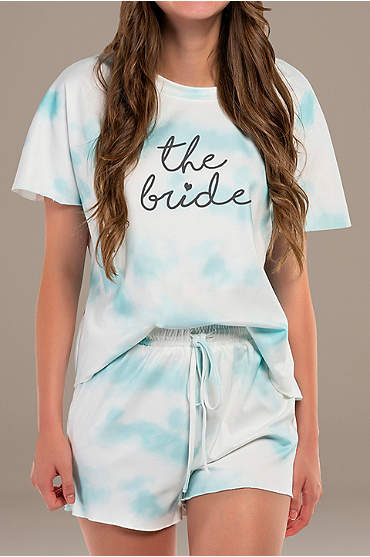 Short Sleeve The Bride Tie-Dye Pajama Shorts Set