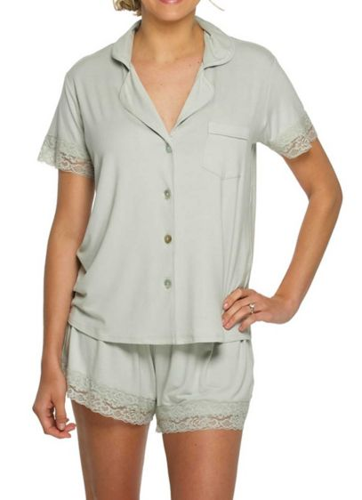 Jersey Lace PJ Set - Made of a comfy stretch fabric, these adorable