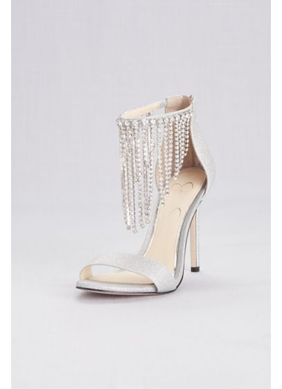 Metallic Crystal Fringe Strap Evening Sandals - Sophisticated and alluring, these metallic sandals feature crystal