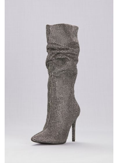 Jessica Simpson Layzer Boots - A slouchy silhouette, stiletto heels, and allover rhinestones