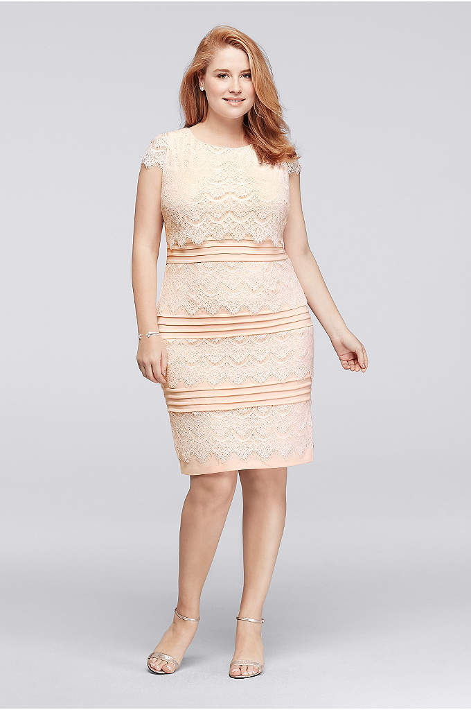 Knee Length Plus Size Lace Dress with Cap Sleeves