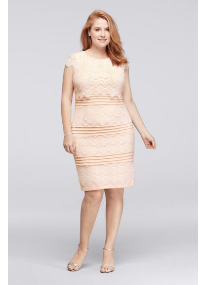 Knee Length Plus Size Lace Dress With Cap Sleeves Davids Bridal