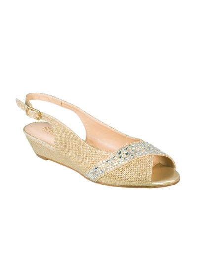 Blossom Beige (Rhinestone-Embellished Low Wedge Slingbacks)