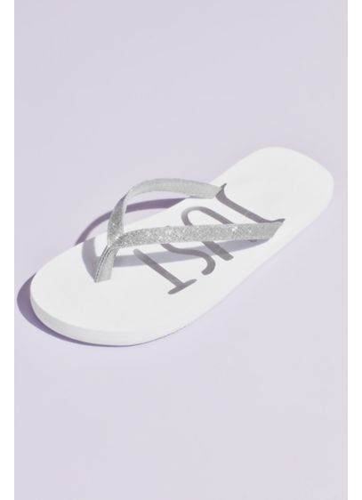 Just Married Glitter Flip Flops - Slip into metallic printed Just Married flip flops