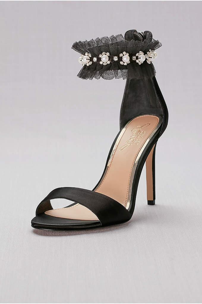 Satin High Heels with Embellished Ankle Strap