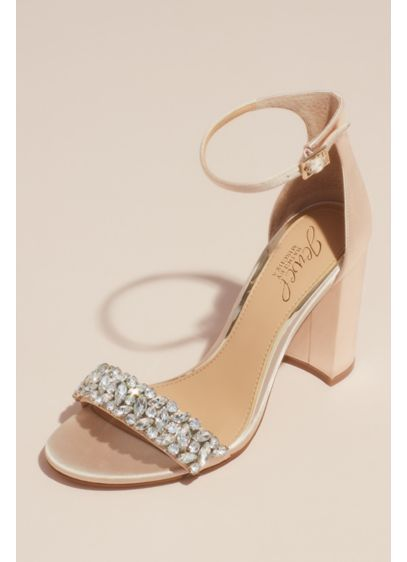 Jewel Badgley Mischka Ivory (Satin Block Heel Sandal with Marquise Crystals)