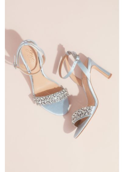 Jewel Badgley Mischka Blue (Marquise Crystal Strap Heeled Satin Sandals)