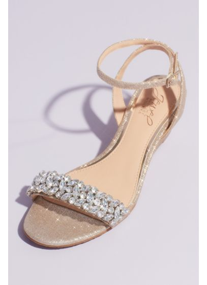 Glittery Ankle Strap Wedge Sandal with Crystals - Clusters of marquise-cut crystals embellish the toe strap