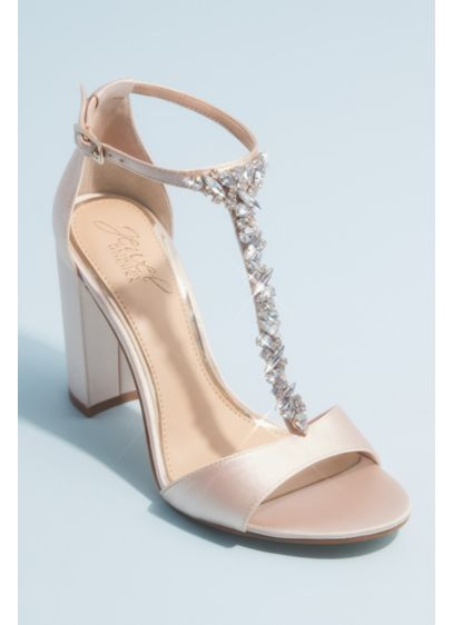 Crystal Encrusted T-Strap Satin Block Heel Sandals - Marquise, pear, circle, and princess-cut crystals embellish the