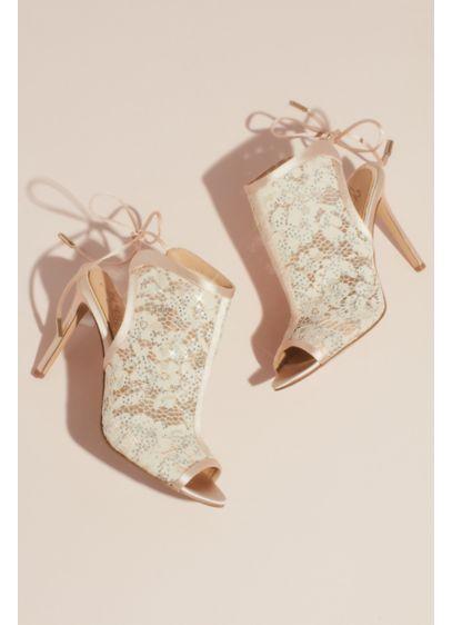 Jewel Badgley Mischka Ivory (Open Toe Illusion Lace Heeled Bootie Sandals)