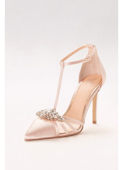 Jewel Badgley Mischka Ivory (Pointed Satin T-Strap Heels with Crystal Ornament)