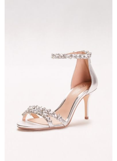 Jewel Badgley Mischka Grey (Crystal-Embellished Metallic Ankle Strap Heels)