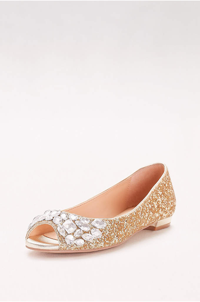 Glitter Peep-Toe Flats with Gem Embellishment - Chunky glitter and bold gems sparkle like starlight