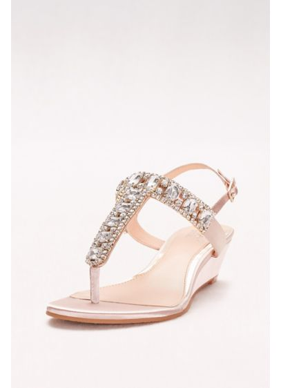 Jewel Badgley Mischka Ivory (Jeweled Satin T-Strap Low Wedges)
