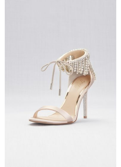 Jewel Badgley Mischka Ivory (Crystal Fringe Strap High Heel Sandals)