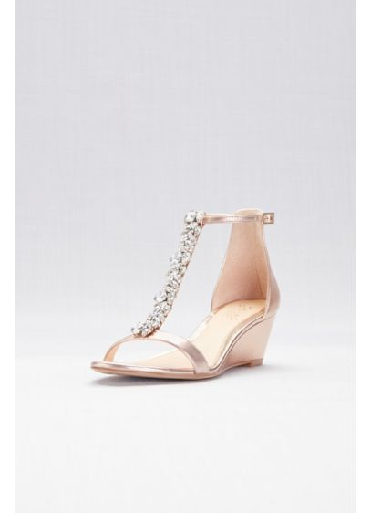 Jewel Badgley Mischka Pink (Crystal T-Strap Low Metallic Wedges)