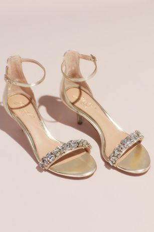 Jewel Badgley Mischka Ivory;Yellow Heeled Sandals (Crystal Strap Kitten Heel Sandals)