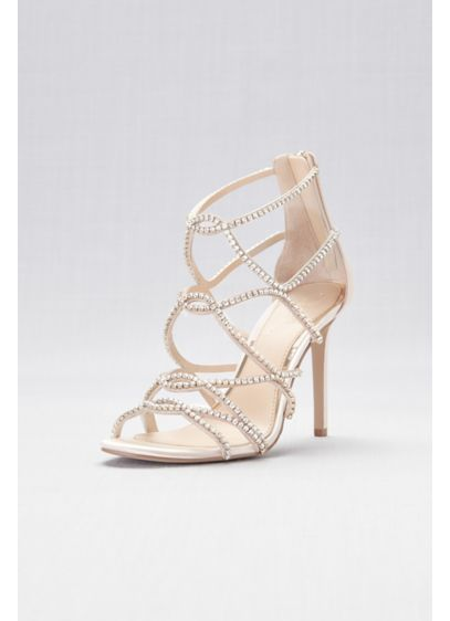 Jewel Badgley Mischka Ivory (Skinny-Strap Crystal Cage Sandals)