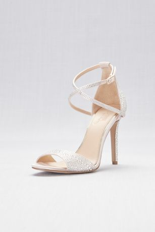 Jewel Badgley Mischka Ivory Heeled Sandals (All-Over Crystal Satin High Heel Sandals)