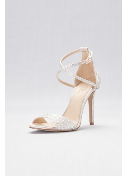All-Over Crystal Satin High Heel Sandals - All-over crystal detailing lays atop smooth satin high-heeled