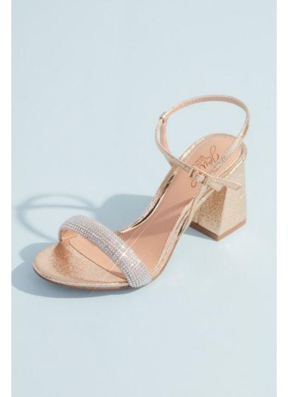 Jewel Badgley Mischka Yellow (Metallic Chunky Block Heels with Toe Straps)