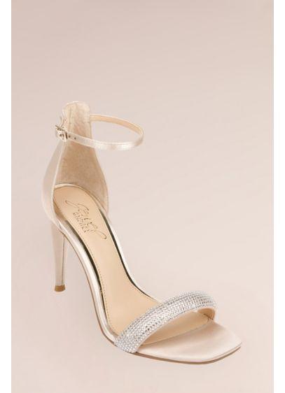 Jewel Badgley Mischka Ivory (Micro Crystal Puffed One-Band Stiletto Sandals)